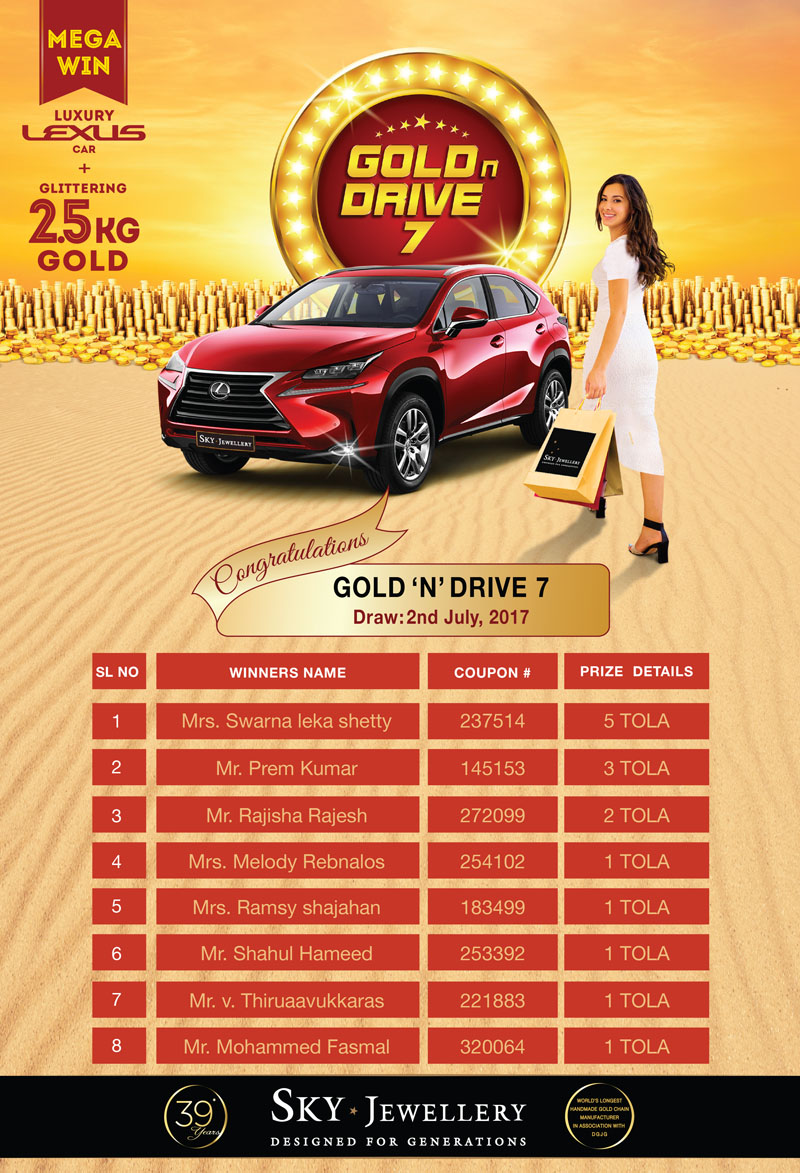 GOLD N DRIVE 3rd DRAW-LIST